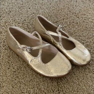 Zara girl, toddler size 10 gold ballet flats